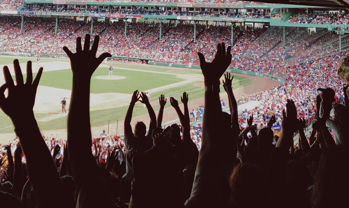 customer experience at a baseball game with fans cheering